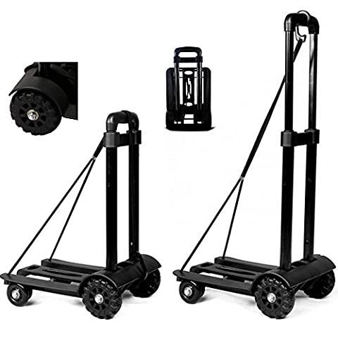 Anleolife Handy Folding Carts With 4 Wheels Grocery Heavy Duty Travel Dolly Back Saver Luggage Carts Pull Work Tools Car Seat Carrier (heavy duty 165lb - Cosco Car Seat Base