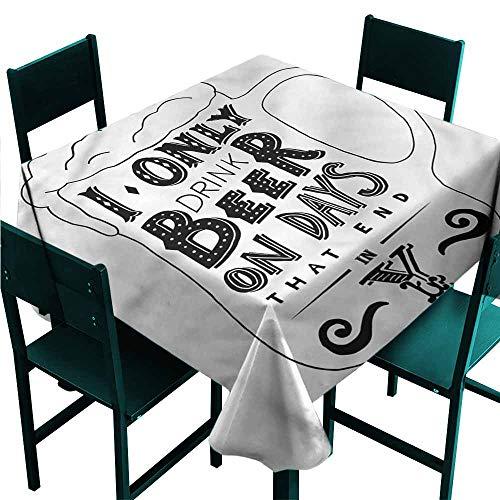 DONEECKL Square Tablecloth Man Cave Vintage Design Mug Beer Party W36 xL36