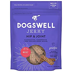 Dogswell 100% Meat Jerky for Dogs, Made in the USA with Glucosamine, Chondroitin & New Zealand Green Mussel for Healthy Hips 15