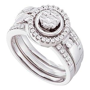14k White Gold Flower Diamond Round Halo Engagement Ring & Wedding Band Set Bridal Set 3 Rings 1/2 ctw Size 8.5