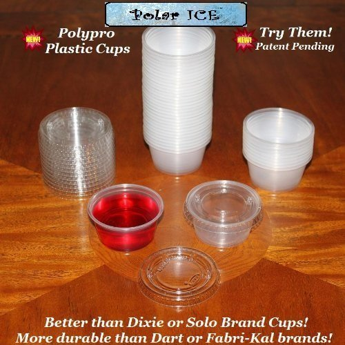 Polar Ice Disposable Plastic Glasses with Lids, 2-Ounce, Translucent, 500-Pack (Glass Ice Shot)