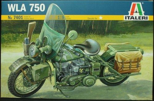 Italeri 1:9 Harley Davidson WLA 45 750 WWII Motorcycle - Plastic Model Kit #7401 (Harley Davidson Plastic Model Kit)