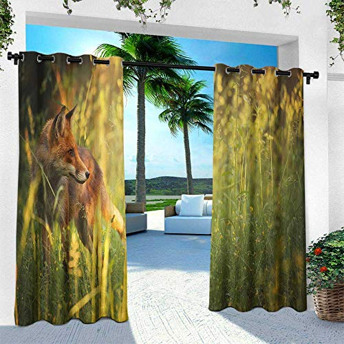 Fox, for Patio Light Block Heat Out Water Proof Drape,Fox in The Summer Forest Fresh Meadow Grass Wilderness Vixen Mammal Nature, W120 x L108 Inch, Orange Yellow Green -