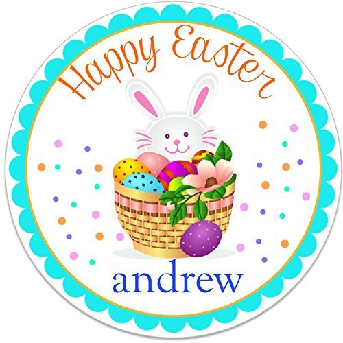 40 round labels 2 easter bunny personalized stickers personalized labels for easter baskets