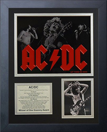 11x14 FRAMED AC/DC ALBUM LIST BON SCOTT BRIAN JOHNSON PHIL RUDD 8X10 PHOTO 1973