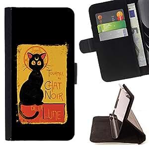 BullDog Case - FOR/Samsung ALPHA G850 / - / Mystical Chat Noir Black Cat Magic /- Monedero de cuero de la PU Llevar cubierta de la caja con el ID Credit Card Slots Flip funda de cuer