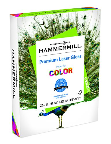 Hammermill Paper, Color Laser Gloss Poly Wrap, 32lb, 8.5 x 11, Letter, 94 Bright, 300 Sheets/1 Ream (163110R) Made in the USA