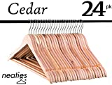 Natural American Cedar Wood Hangers w/Notches and Non-Slip Bar for Forest-Fresh Closet, Cedar Hangers, VALUE Set of 24