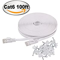 Jadaol Cat 6 Ethernet Cable 100 ft White Flat with Clips