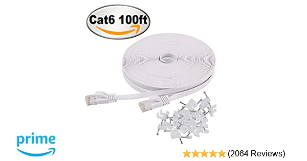 Amazon.com: Cat 6 Ethernet Cable 100 ft White Flat with Clips – Slim ...
