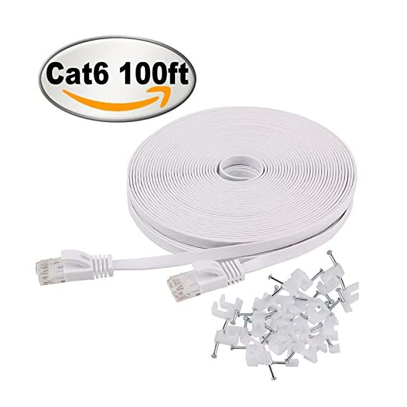 Cat 6 Ethernet Cable 100 ft Flat White, Slim Long Internet Network Lan patch cords, Solid Cat6 High Speed Computer wire… 1 Bundled with the 25 cable clips, no need to buy elsewhere Cat 6 standard provides performance of up to 250 MHz and is suitable for 10Base-T, 100Base-TX (fast Ethernet), 1000Base-T/1000Base-TX (Gigabit Ethernet) and 10GBase-T (10-Gigabit Ethernet) Cat 6 performance at a Cat5e price but with higher bandwidth