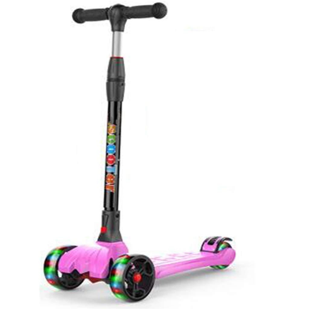 4輪スクーター調節可能な高さに操縦する子供のスクーターライトアップホイール楽しい屋外のおもちゃ子供のためのフィットネス屋外ゲーム子供のための活動男の子&女の子のおもちゃ B07QZW1YVT  A