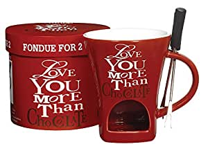 """""""Love You More Than Chocolate"""" Fondue Pot for 2 with Forks, Gift Boxed"""
