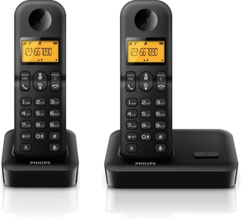 Philips Serie 1000 - Teléfono fijo digital (2 terminales), negro: Amazon.es: Electrónica