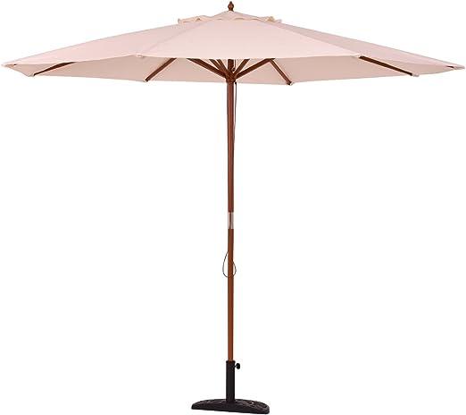 vengaconmigo Parasol Jardín Exterior Sombrilla Solar de Madera 3M ...