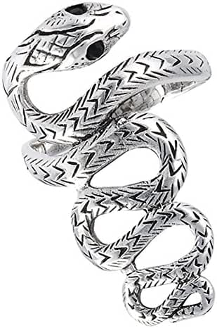 Snake Scales Long Simulated Black Onyx Serpent Ring Wave Sterling Silver Band Sizes 7-13