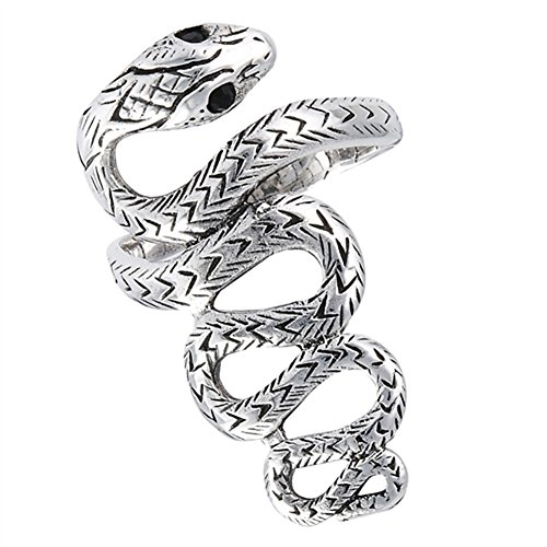 - Snake Scales Long Simulated Black Onyx Serpent Ring Wave Sterling Silver Band Size 10