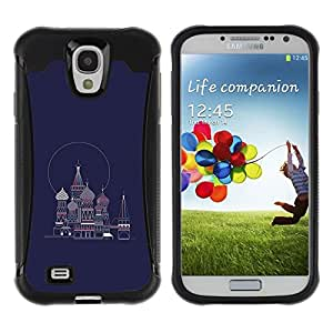 LASTONE PHONE CASE / Suave Silicona Caso Carcasa de Caucho Funda para Samsung Galaxy S4 I9500 / Petersburg Russia Navy Blue Red Square