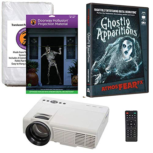 Halloween Window Projection Kit Includes 1200 Lumen Projector, 2 High Resolution Projection Screens (R/D) and AtmosFEARFx Ghostly Apparitions on DVD -
