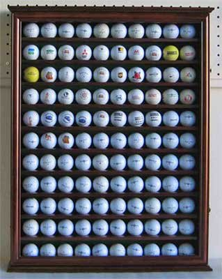 110 Golf Ball Display Case Wall Cabinet Holder, Solid Woo...