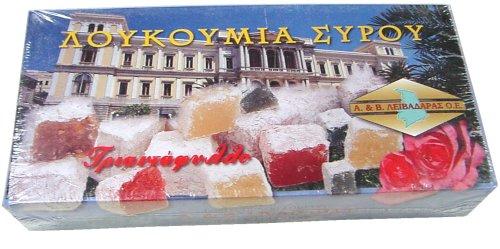 Loukoumi Sirou (Greek Loukoumi - Turkish Delight) Plain/rose 380g Pkg (Pkg Rose)