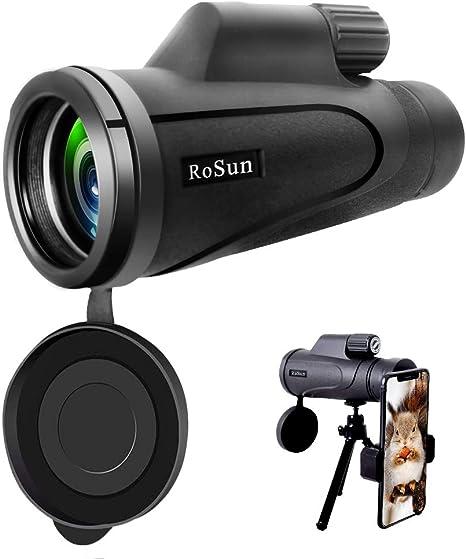 Tencoz 12 x 50 HD Alta Potencia Monocular Impermeable Telescopio Monocular para Movil Monoculares con Clip de Tel/éfono y Tr/ípode para Observaci/ón de Las Aves Telescopio Monocular Caza Camping