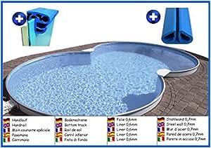 Piscina de pared de acero forma de ocho 5,00m x 8,55m x 1,50m liner 0,6mm sin filtro piscina