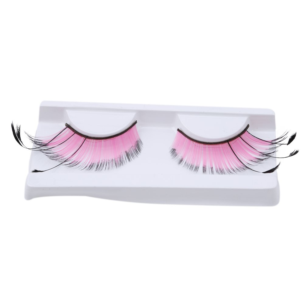 Meolin Handmade 1Pair Feathers False Eyelashes For Fancy Dress Party,Rose pink,4.291.950.58inch