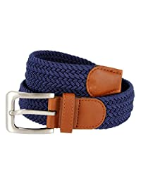 "Men's Elastic Fabric Woven Stretch Belt Leather Inlay Multi-Color options (M(34""-36"") Total Length: 43"", Navy)"