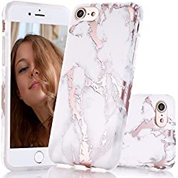 iPhone 7 Case, iPhone 8 Case,Shiny Rose Gold White Marble Design, BAISRKE Clear Bumper Matte TPU Soft Rubber Silicone Cover Phone Case for iPhone 7 (2016)/iPhone 8 (2107)