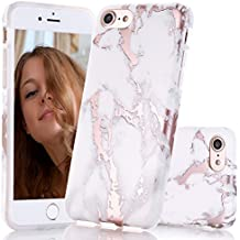 BAISRKE Shiny Rose Gold White Marble Design Clear Bumper Matte TPU Soft Rubber Silicone Cover Phone Case Compatible with iPhone 7 (2016) / iPhone 8 (2017) [4.7 inch]