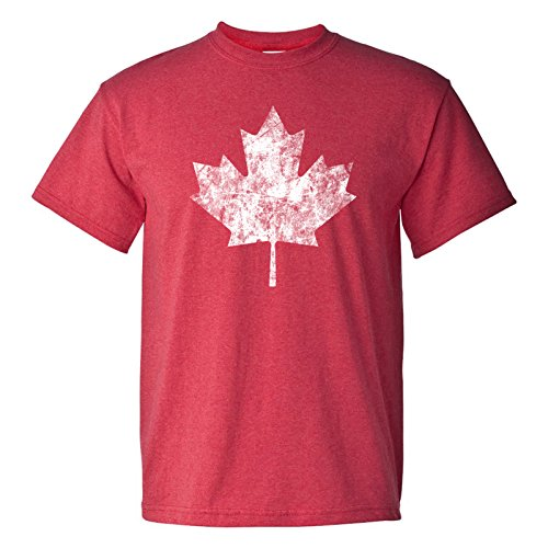 Canadian Maple Leaf Distressed Vintage Basic Cotton T-Shirt - X-Large - Heather Red
