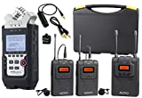 Zoom H4n PRO 4-Channel Handy Recorder Bundle with Movo UHF Wireless Dual Lavalier Microphone System
