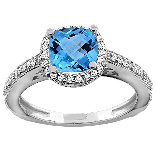 10K White Gold Genuine Blue Topaz Engagement Ring Diamond...