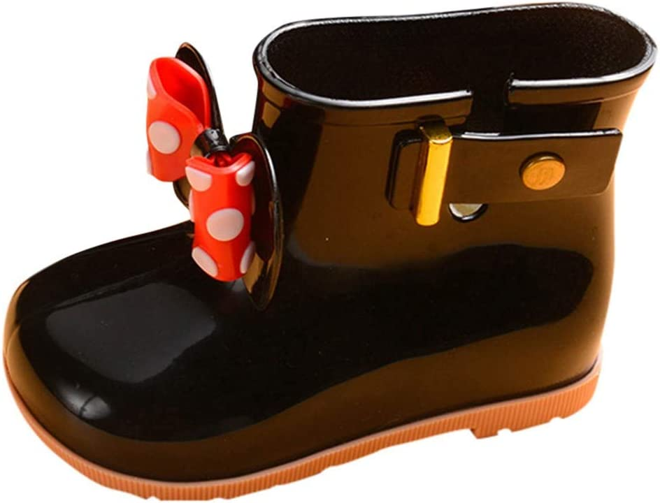 WensLTD Toddler Kids Rain Boots Rubber Waterproof Shoes with Cute Bowknot