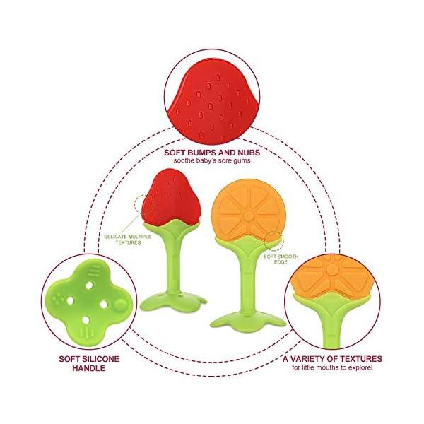 ANGELBLISS mordedor bebes refrigerante,mordedores bebes BPA gratis Juguetes para la dentición para bebés,Natural Organic… 4