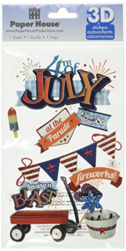 Paper House Productions STDM-0177E 3D Cardstock Stickers, Fourth of July (3-Pack) (Of 4th July Scrapbooking)