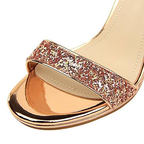 De Con Abierta Lentejuelas Novia Tacones Nupcialesxiaoqi Tobillo Señoras Liangxie Champán Correas Altos Peeking Plataforma Sandalias Zapatos 8RBf1q