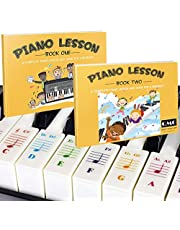 $22 » Color Piano and Keyboard Stickers and Complete Color Note Piano Music Lesson and Guide Book 1 and Book 2 for Kids and Beginners; Designed and Printed in USA