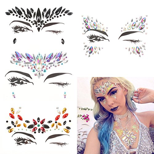 Kosbon 4 Sets Mermaid Face Gems Rave Festival Face Jewels Stick on Crystals Bindi Rainbow Tears Rhinestone Temporary Tattoo Face Rocks. (Jewel Tattoo -