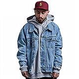 Oversized Men Wash Denim Jeans Jacket Fashion Short Holes Coat Long Sleeve Outfit Vintage Dress Old Style Tops (XXL)