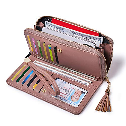 (Women Wallets PU Leather Zip Around Bifold Ladies Clutch Purse Checkbook Credit Card Holder Pink)