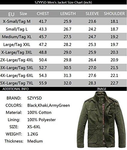 larga ejército Ropa manga Militar abrigo Negro Chaquetas algodón Hombre ocio SZYYSD Autumn 8S6qfwvX