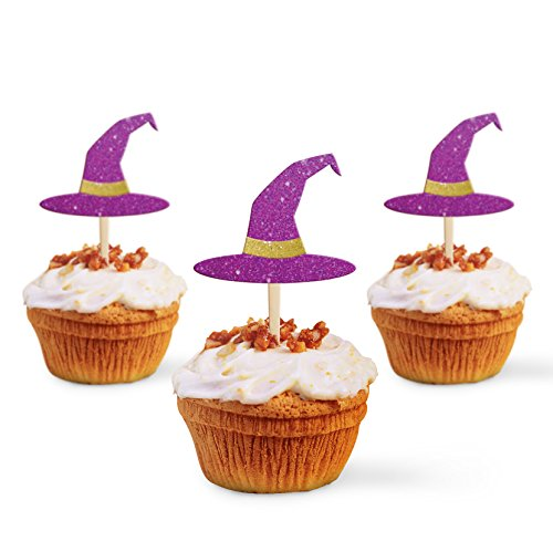 Halloween Cupcakes With Pictures (Cup Cake Topper Halloween Decoration Party Witch Hat, Glitter Foamy Purple Laser Cut MDF Set 3 Pc)