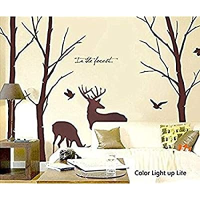 Cukudy 7.8ft Deer Wall Decals Nature Brown Wall Decals Birch Tree Nursery Wall Stickers: Home & Kitchen
