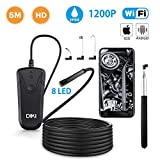 Wireless Endoscope, DIKI Semi-Rigid WiFi Borescope Inspection Camera 1080P 2.0 Megapixels HD Snake Camera IP68 Waterproof for Android and iOS Smartphone, iPhone, Samsung, Tablet - Black(16.4FT)