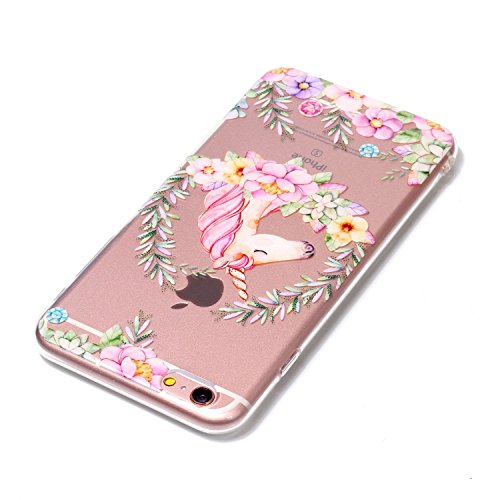 iPhone 6 / 6S Plus Coque , Leiai Transparent Mode Chinesische Rose Ultra-mince Clear Silicone Doux TPU Housse Gel Etui Case Cover pour Apple iPhone 6 / 6S Plus