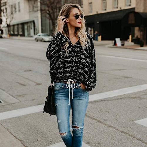 shirt T à Zhrui Couleur longues Dresses Fashion shirt Noir Haut Sweat Taille Wide manches femme capuche élégant à Street S dIq46Yw