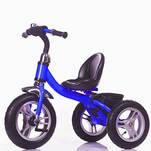 Blue Tricycle (Little Bambino RideOn Pedal Tricycle Children Kids Smart Design 3 Wheeler | CE Approved Air Wheels Adjustable Seat Metal Frame Bell (Blue))
