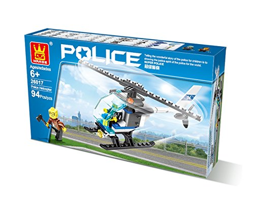 Police Helicopter 94pcs SetCompatible with Other Major Brands Parts, DIY Fun Building Blocks, Amazing Gift Idea for Kids.